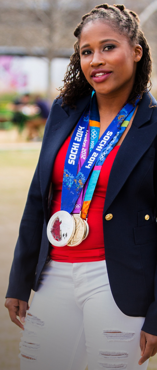 Lauryn Williams with Medals - GreenMoneyJournal.com