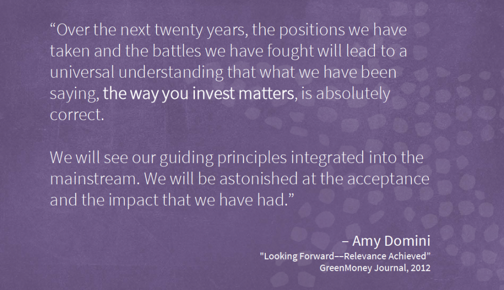 Amy Domini - Looking Forward - GreenMoney Journal