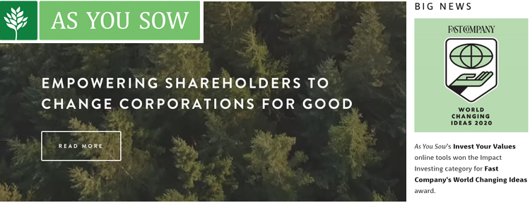 As You Sows Invest Your Values wins FastCos Ideas Award