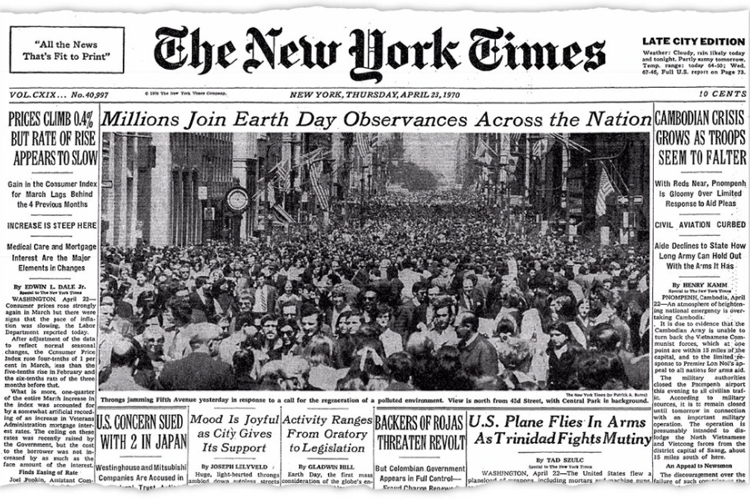 NYTimes--First Earth Day April22, 1970