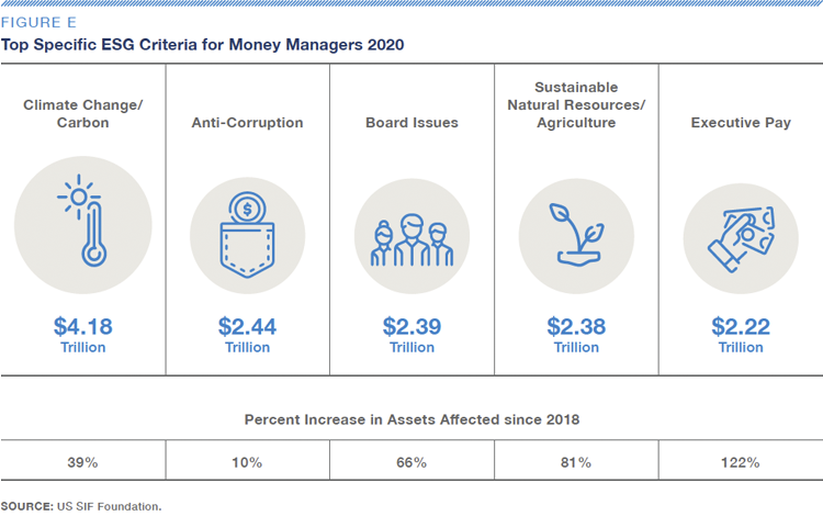 Fig E–Top Specific ESG Criteria for Money Managers 2020-US SIF