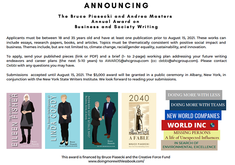 Announcing the Bruce Piasecki and Andrea Masters Award on Business and Society Writing